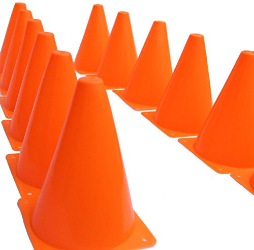 "7 Inch Plastic Traffic Cones - 12 Pack of 7"" Multipurpose Construction Theme Party Sports Activity Cones for Kids Outdoor and Indoor Gaming and Festive Events"