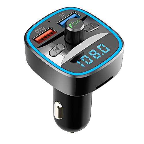 【Nuevo Versión】 Transmisor FM Bluetooth, HOLALEI Qc3.0 Manos Libres para Coche, Inalámbrico Reproductor MP3 Mechero Coche Adaptador Receptor con Dual USB 5V/2.4A & 1A, Soporte Tarjetas SD + U Disk