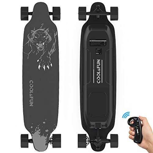 RCB Longboard Elektromotor Skateboard E Skateboard, mit Fernbedienung, Skateboard-Design 4-Räder, langlebige Batterie, Starke Installation, schwarz (Schwarz)