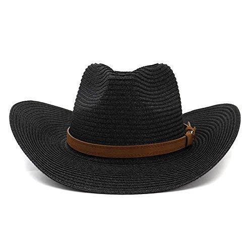 Cappellini Qiukui Fashion Dome Cappello da paglia da cowboy da donna in paglia da uomo occidentale, cappello da spiaggia all'aperto for cappello a cilindro, cappello for ombrellone alla moda con prote
