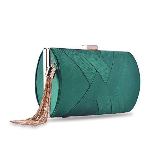 zebrum El bolso de tarde del embrague para Mujer Verde, Oscuro Greenelegant borla
