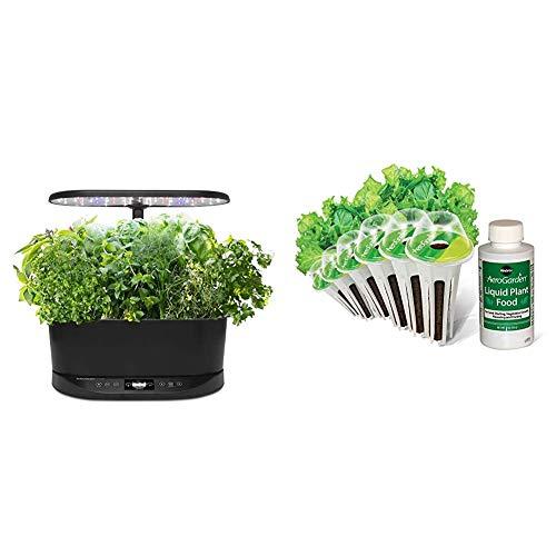 AeroGarden Bounty Basic Indoor Hydroponic Herb Garden, Black & Salad Greens Mix Seed Pod Kit