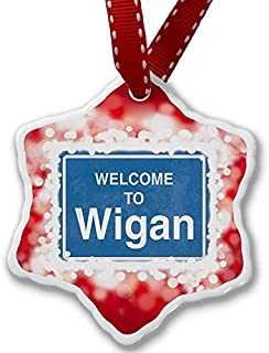 VinMea Christmas Ornament Sign Welcome to Wigan, red Xmas Decorative Hanging Ornament