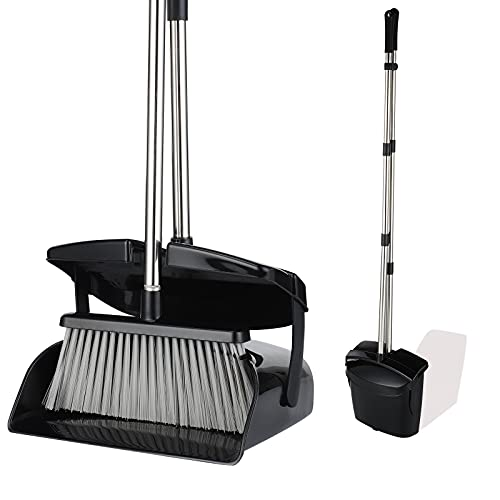 Maxurry Broom and Dustpan Set Dustpan Broom Combo with Long Handle Upright Stand up Dustpan Broom for Home Kitchen Room Office Lobby Floor Use