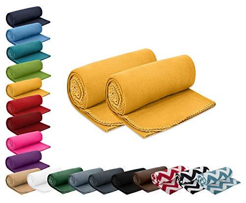 wometo 2er Set Polar- Fleecedecke 130x160 cm ca. 400g wertiges Gewicht mit Anti-Pilling Kettelrand Farbe gelb in vielen bunten Farben