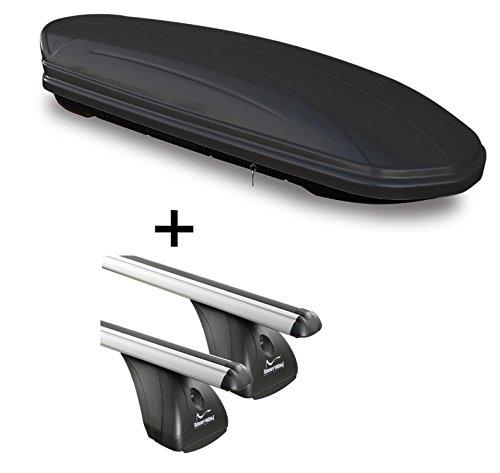 Dachbox VDPMAA460 460Ltr schwarz matt abschließbar + Alu Dachträger Aurilis Original kompatibel mit Hyundai ix35 (5Türer) 2010-2015