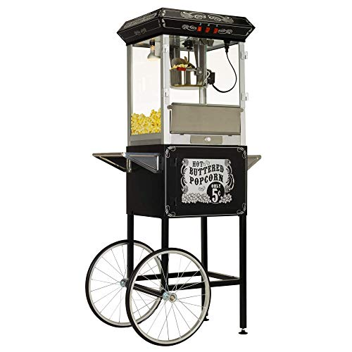 Sale!! Funtime FT860CB Antique Carnival-Style 8-Ounce Hot-Oil Popcorn Popper with Cart, Black