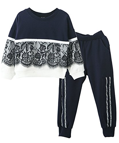 Ancia Toddlers Little Girl Kids Toddlers Long Sleeve Top Pant Legging Set(Lace Navy,160)