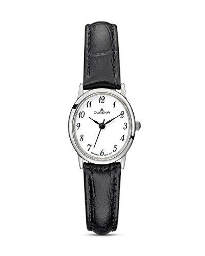 Dugena Damen Armbanduhr Vintage Leder 22x24mm schwarz/weiß