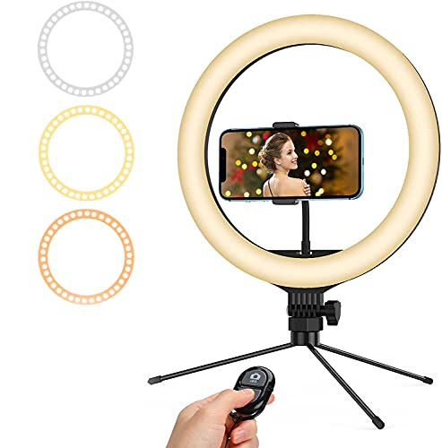 Ringleuchte 10\'\' LED Selfie Ringlicht Stativ mit Fernbedienung with 3 Colors and 10 Brightness, Selfie Tripod with Remote Control, Recording Live Light for YouTube Video/Photography/Makeup/TikTok