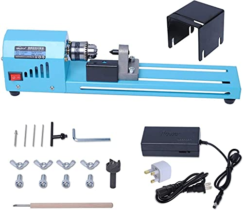 Mini Lathe Beads Polisher Machine by Poweka, Mini Wood Lathe Woodworking DIY Tool Drill Polishing Standard 7 Speed