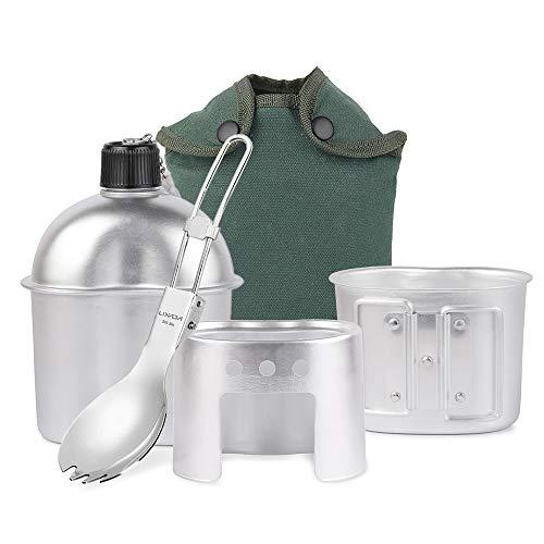 Lixada Cantimplora Militar para Camping de Aluminio Utensilios de Cocina 3pcs con Copa y Estufa para Camping Senderismo Mochilero (Estilo 1-4pcs)