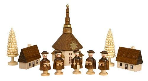 Volkskunstwerkstatt Unger Kurrende Figuren mit Seiffener Kirche - Original Erzgebirge® #0415
