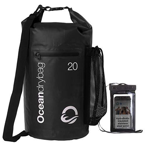 Oceandrybag - Bolsas impermeables impermeables para todo tipo de clima, 20 L, color negro, duraderas, ligeras, flotantes, impermeables, para kayak, bolsas secas para barcos, camping, bolsas secas