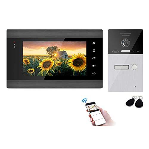 DBM-TOR Videoportero WiFi IP Timbre con Monitor Sistema de intercomunicación, Kit de videoportero con Pantalla LCD de 7 Pulgadas, Desbloqueo de liberación de Puerta Delantera de visión Nocturna