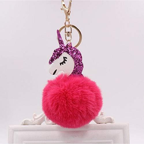 Paard Knuffels, Pluizige Vacht Pom Pom Metalen Sleutelhanger Pop, Vrouwen Meisjes Tas Hang Hanger, Kids Verjaardag Pasen Gift 17X8Cm (Rood)