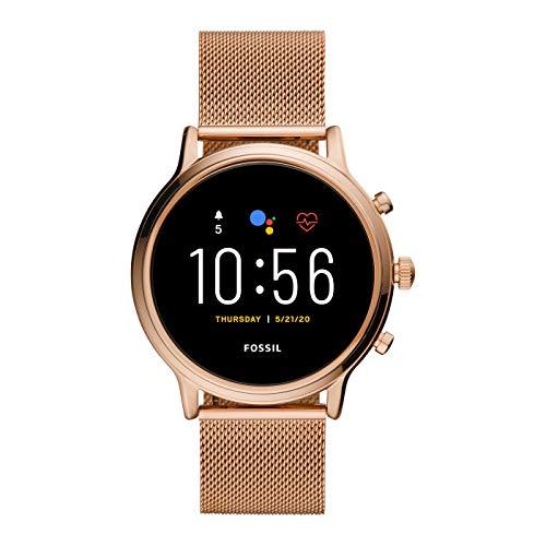 Fossil Gen 5 Julianna - Cassa e cinturino in acciaio inossidabile con touchscreen Smartwatch in tono oro rosa con altoparlante, frequenza cardiaca, GPS, NFC, per donna - FTW6062