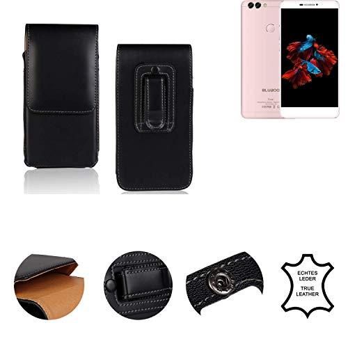 K-S-Trade® Holster Gürtel Tasche Für Bluboo Dual Handy Hülle Leder Schwarz, 1x