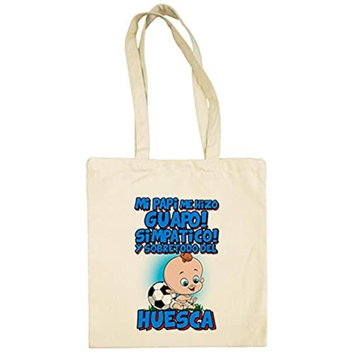 Diver Bebé Bolsa de tela mi papi me hizo guapo simpático y sobretodo aficionado al fútbol de Huesca - Beige, 38 x 42 cm