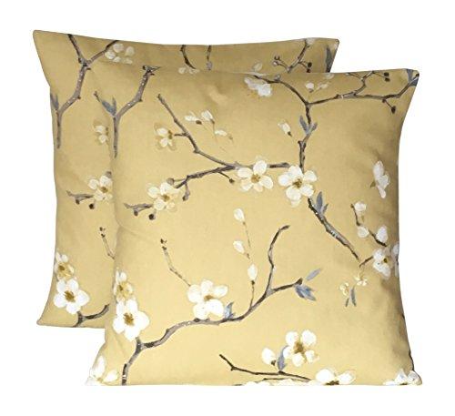 240,6cm (40cm x 40cm) a mano senape giallo grigio marrone EMI (mimosa) stampa floreale cuscino copre
