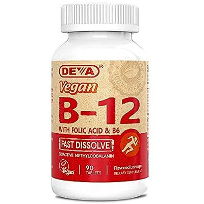 Deva Vegan Vitamin B12 Fast Dissolve Supplement - Once-Per-Day Complex with 1000 Mcg Methylcobalamin B12, Folic Acid, B6 - Lemon Flavor - 90 Dissolvable Tablets, 1-Pack