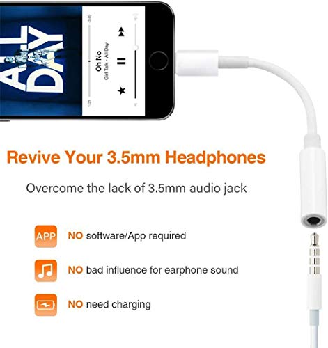 [Apple MFi Certified] Lightning to 3.5 mm Headphone Jack Adapter, 2 Pack Earphone Audio Jack Aux, Compatible with iPhone 11/11 Pro/XR/XS Max/X/8/7 Support All iOS , Music Control