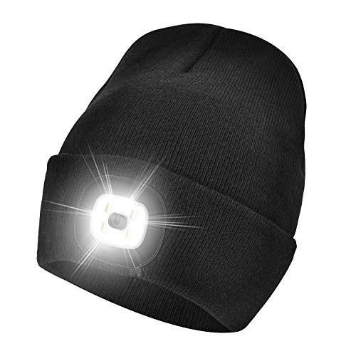 Etsfmoa Unisex LED Beanie Hat with Light, Gift for Men and Women USB Rechargeable Winter Knit Lighted Headlight Hats Headlamp Skull Cap