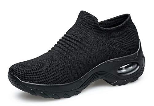 [MOXOCO] スニーカー レディース ウォーキングシューズ 軽量 フィットネスシューズ ジョギングシューズ ダイエット靴 厚底 カジュアル クッション性 ランニング 美脚 婦人靴 エアクッション アウトドア 作業靴 看護師 矯正靴 黒 25.0cm