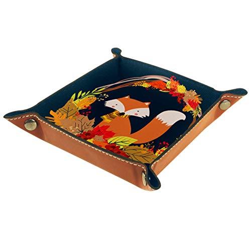 Yuzheng Cesta Fox Bandeja de cajones Escritorio Papelería Artículos Diversos Gadget Organizador de Cuero Plegable Caja de Almacenamiento Contenedor de Llaves 20.5x20.5cm