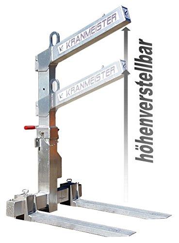 Krangabel Ladegabel aus Aluminium KL15 HVL 1200 kg Nutzlast/höhenverstellbar bis 1700 mm Nutzhöhe - automatischer Gewichtsausgleich! Qualität Made in Germany