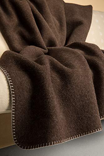 Steinbeck Doubleface-Decke Ökolana aus 100 % naturbelassener Schurwolle, in 4 Größen und 3 Farben, Dunkelbraun/Weiß Größe 150x220 cm
