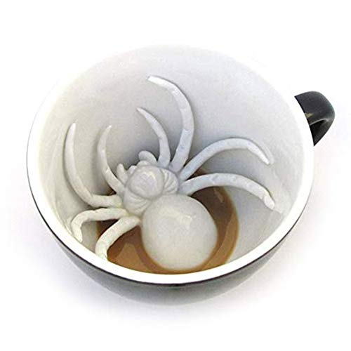 YAHUA LI Creature Cups Spider Cup,Cthulhu Ceramic Cup , Hidden Creepy Animal Inside ,Halloween, Holiday and Birthday Gift for Coffee and Tea Lovers