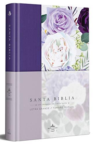 Biblia Reina Valera 1960 Letra Grande. Tapa Dura, Tela Morada Con Flores, Tamaño Manual / Spanish Bible Rvr 1960. Handy Size, Large Print, Hardcover,