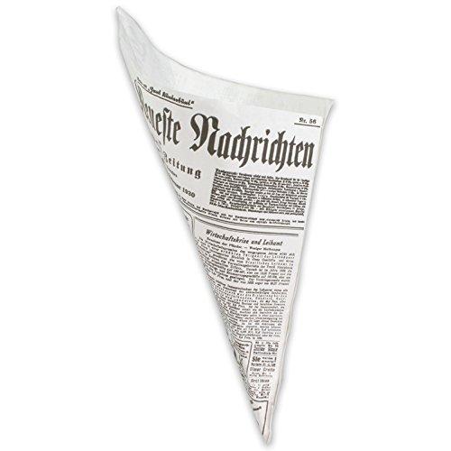 Unbekannt 500 Snack-Spitztüten fettdicht 2-lagig 19cm 125g - Zeitungsmotiv, Papierspitztüten Pommes