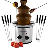 Andrew James Large Chocolate Fountain Fondue - 1 Litre Capacity with 3 Tiers and Extra Deep Drip Tray - Adjustable Motor and Temperature Dial - Great for Parties Weddings includes 8 Skewers