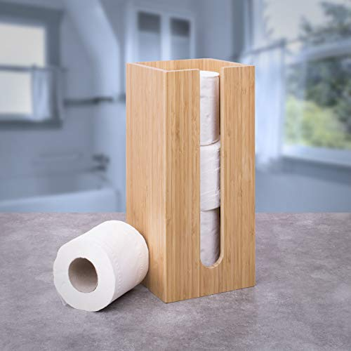 woodluv bamboo toilet roll holder - perfect for the bathroom or toilet