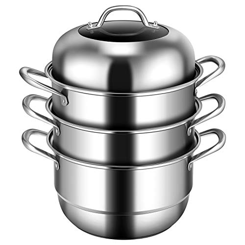 Giantex 3-Layer Stainless Steel Steamer Pot for Cooking Soup and Steaming Food Steam Pot with with Tempered Glass Lid, 2 Steaming Septa on Gas, Electric, Grill Stove (Silver)