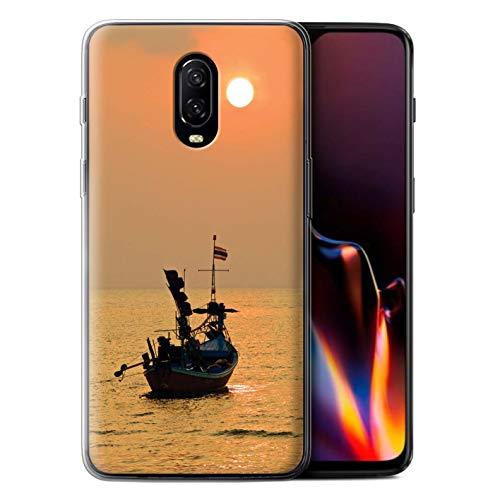 STUFF4 Gel TPU Phone Case/Cover for OnePlus 6T / Boat/Orange Sun Design/Thailand Scenery Collection -  MR-1PLUS6T-GC-MP-THAI-BOATSUN