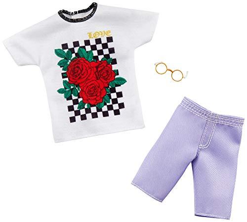 Mattel GHX47 Barbie Ken Mode Fashion - Conjunto de ropa con impresión, pantalones cortos y gafas