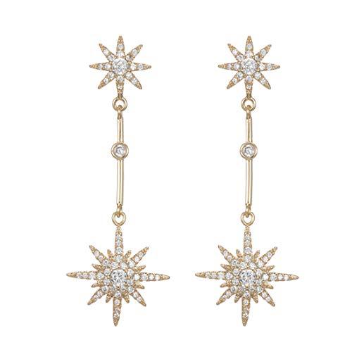 Ms.Swan - Pendientes largos de plata de ley 925 con circonita dorada, con colgante de estrella de ocho puntas, dorados, dos estrellas