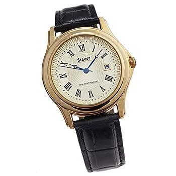 Stauer - Men s Metropolitan Wrist Watch with Black Leather Band 40mm