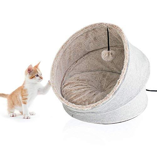 Dociote Katzenhöhle Kuschelhöhle mit Kissen & rutschfestem Boden & Spielball 42 x 42 x 40cm faltbares Katzenbett für Katze Grau