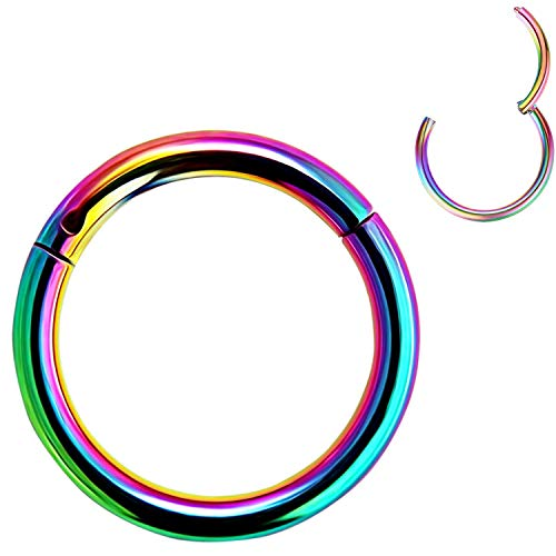 Spuzzy Hinged Segment Ring Nose Ring - 316L Surgical Steel - 20G 18G 16G 14G - Diameter 6mm to 12mm- Silver - Gold - Rose Gold - Black - Rainbow- Piercing Jewelry for Nose, Septum, Lip, Ear etc.