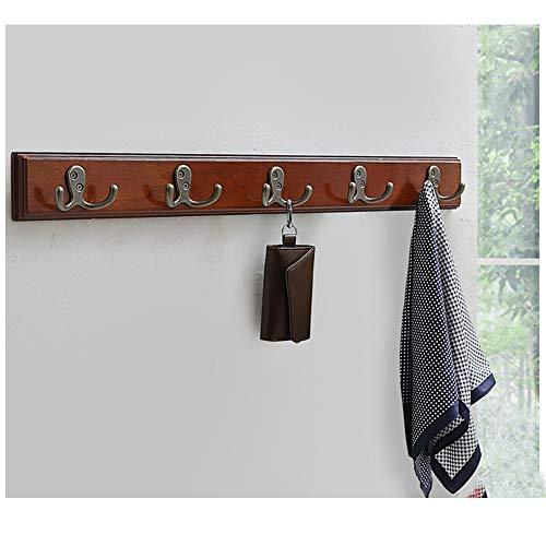 Perchero de Madera rústica montado en la Pared, Perchero Decorativo, Perchero y Toallero para Entrada, Dormitorio, baño, oficina 5hooks