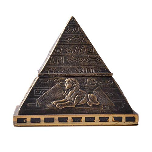 Garneck Egyptian Pyramid Figurine Jewelry Box Earrings Rings Storage Case Building Statue Prism Desk Ornament for Souvenir Gift
