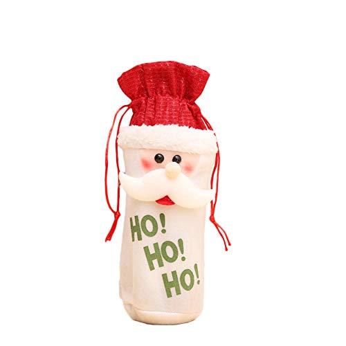 mothcattl Weihnachtsmann Schneemann Elch Kordelzug Weinflaschenhülle Tasche Weihnachtstisch Deko Mann Schneemann Elch Weinset Weinflaschenbeutel Old Man