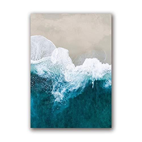 Geiqianjiumai Océano Azul Agua Lienzo Arte póster