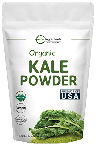 Sustainably US Grown, Kale Powder Organic, 1 Pound (90 Servings), Contains Immune Vitamin C to Support Immune System, Green Superfood for Kale Tea and Kale Drink, No GMOs and Vegan Friendly