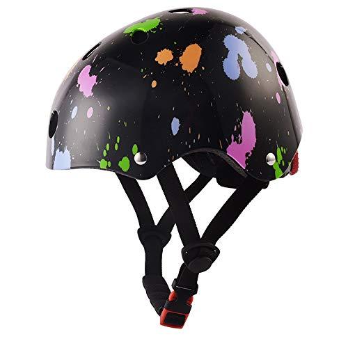 "skybulls Toddler Kids Helmet Child Cycling Riding Bike Skateboard Roller Helmets Amazing Color Changeant Size 18.9""-21.7"" Multi Sports (Black)"