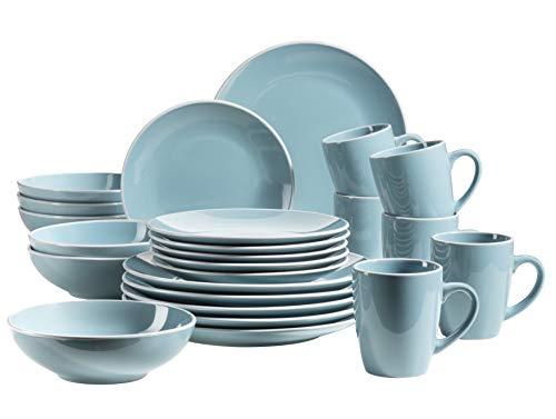 MÄSER 931770 Serie Elissa Modernes Geschirr Set für 6 Personen in Türkis mit weißem Rand, 24-teiliges Kombiservice, Steinzeug